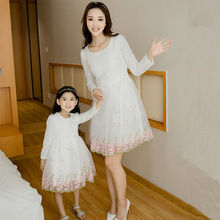 Korea Style Mother Daughter Dresses Cute Lace Family Look Matching Outfits Kids Clothes Mom And Baby Girls Dress GH207