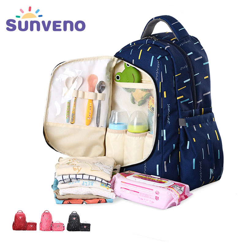 цена на Sunveno 2in1 Diaper Bag Mummy Maternity nappy Bag Baby Travel Backpack Bag Organizer Nursing for Baby Care Mother& Kids groot