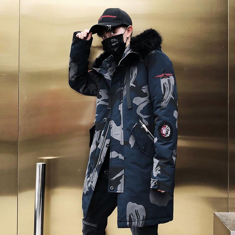 2018 mode Winter Neue Pelz Jacke Männer Warme Mantel Mode Lässig Parka Mittel Lange Verdickung Mantel Männer Für Winter-in Parkas aus Herrenbekleidung bei  Gruppe 3