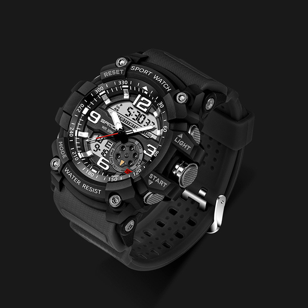 Digital Analog Dual Time Sport Watch Zones Calendar Chronograph Military Resin Wrist Watch Men 36