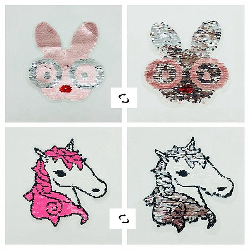 2018 Rabbit Horse Reversible Change Color Sequins Sew On Patches for Clothes DIY Patch Applique Bag Clothing Coat Sweater Crafts
