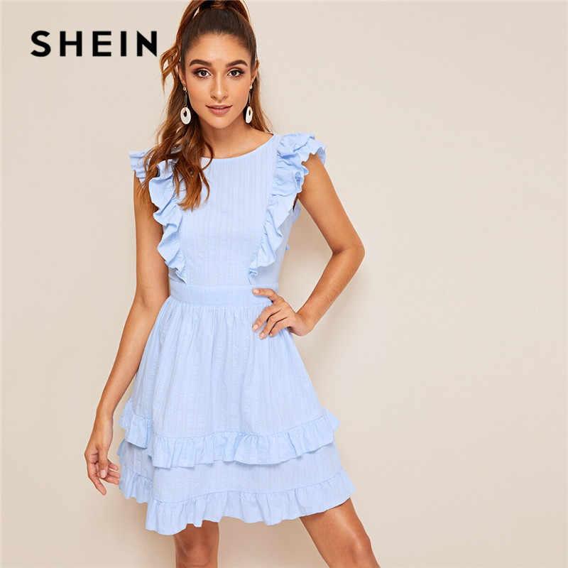 SHEIN Knot Layered Ruffle Guarnição Backless Sexy Vestido Pastel Azul Em Torno Do Pescoço de Cintura Alta As Mulheres Se Vestem Sólida Sem Mangas Vestido de Verão