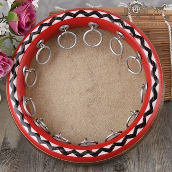 Xinjiang ethnic musical instruments tambourine wood high-grade leather drum tambourine professional dance 25cm authentic free sh