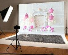 Cor branca e rosa balões estrela bolo lareira sala de parede Fundos backdrops Vinil pano de Alta qualidade de impressão Computador