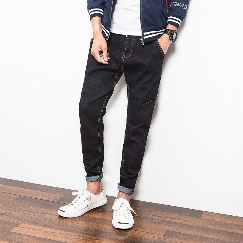 New Men's Black Denim Casual Pants Japan Style Dark Jeans Men Fashion Slim Fit Male Trousers Plus Size M-5XL Mens Biker Jeans versus versus sol11 0016