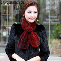 Winter Neck Warmer Poncho Shawl Stole With Flower Genuine knitted Real Mink Fur Scarf For Women Wrap Cape