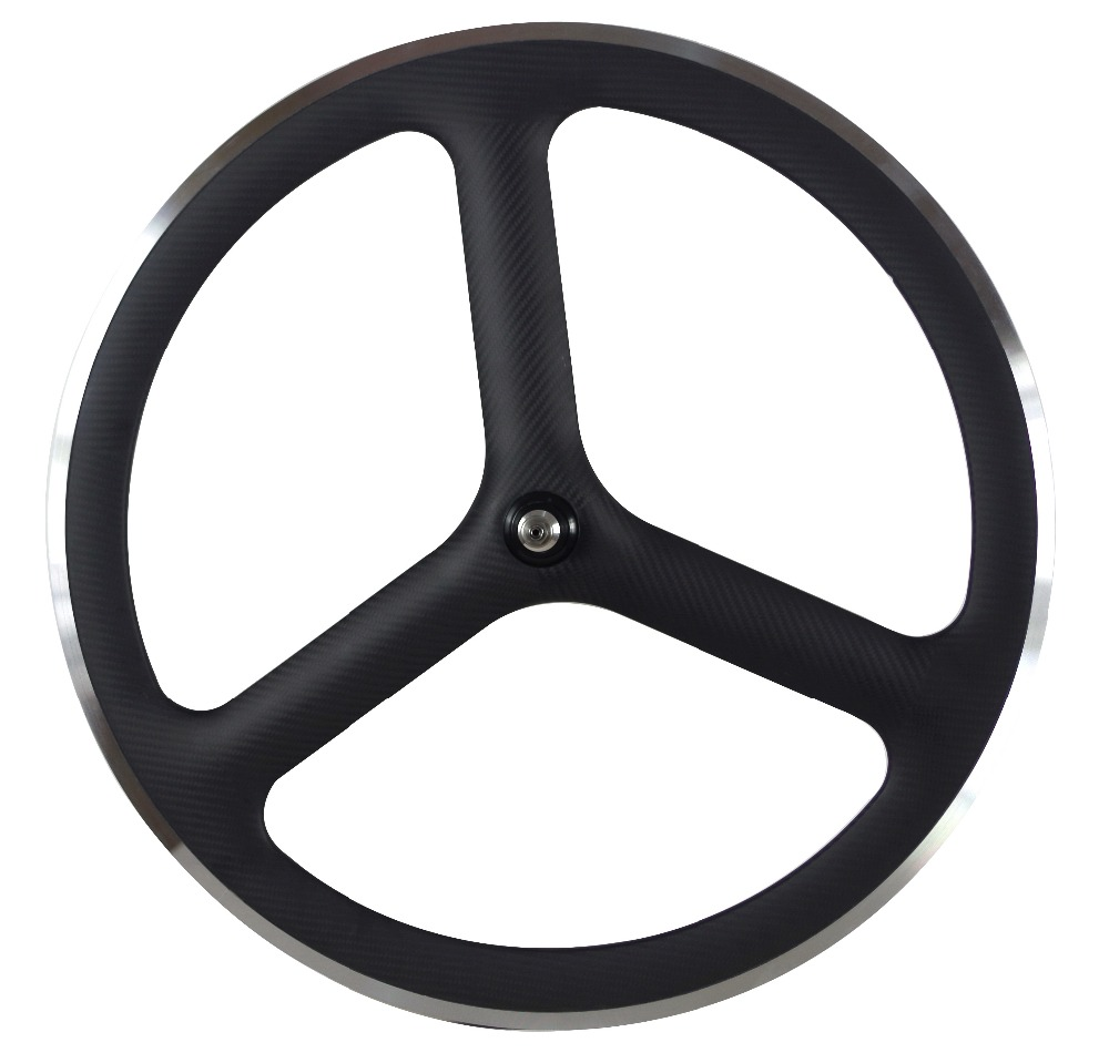 carbon alloy surface braking 3 spoke clincher wheels 700c bicycle carbon fixed wheels Bicycle Wheel     - title=