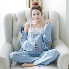 Lace 3 Pieces Maternity Clothes Maternity Sleepwear Breastfeeding Lounge Nursing Pajamas Pregnant Women Pajamas Cotton