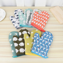 FOURETAW 1 Piece High Quantity Cute Animals Cotton Nordic Kitchen Cooking microwave gloves baking BBQ potholders Oven mitts
