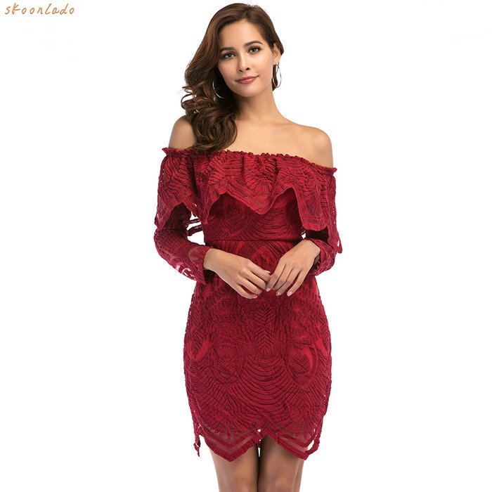 women off shoulder clothes party dresses classy fashion style lace material summer wearing female flower design dress dinner in Dresses from Women 39 s Clothing