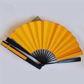 Abanico de mano plegable de papel de arroz dorado estilo chino, pintura...