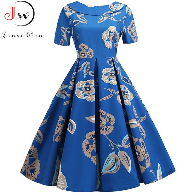 Women Floral Print Vintage Dress 2019 Short Sleeve Peter Pan Collar Elegant Vestidos Robe Casual Summer Midi Party Dress