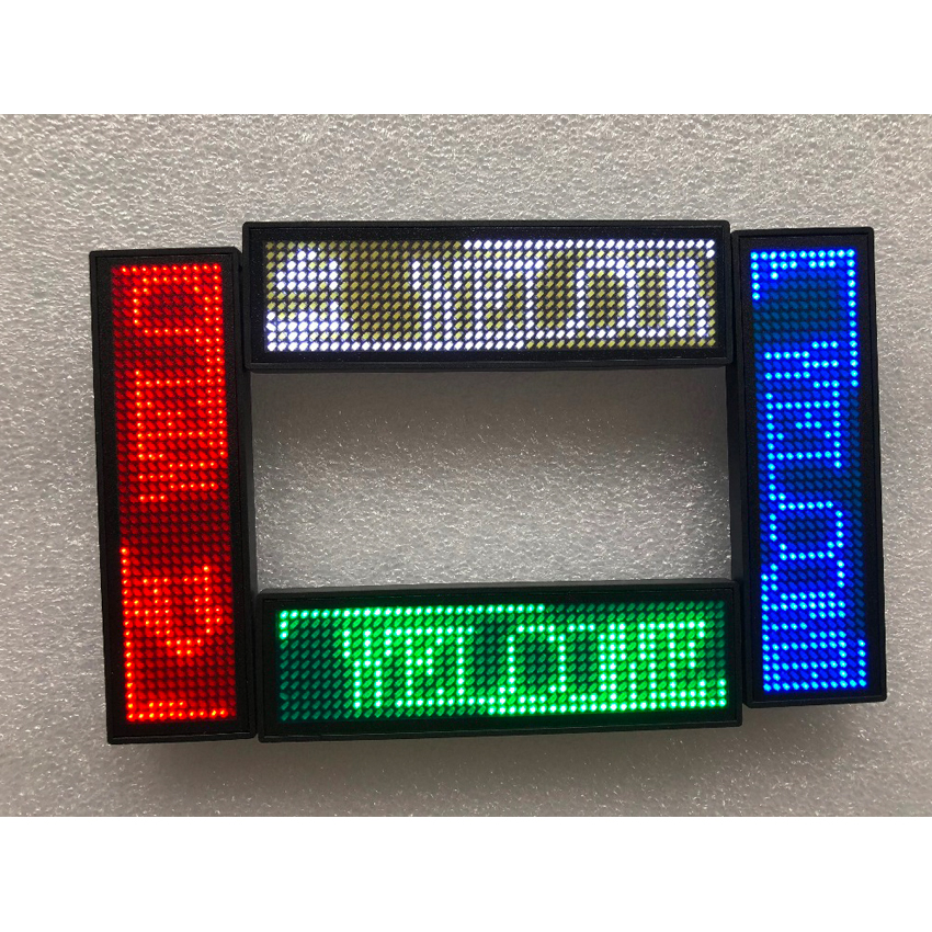 HD-NT44 Green Color Scrolling Message Led Name Badge 44x11 Pixel Single Color USB Rechargeable Led Name Tag For Chest Card Label