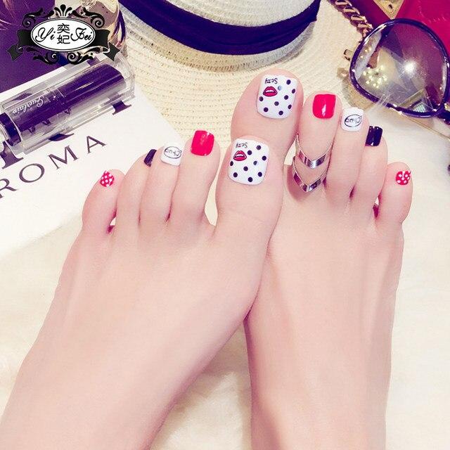 Online Shop 24Pcs Beauty kiss Wave point toenails Short French Fake ...