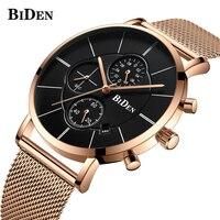 BIDEN Brand Gold Mesh Belt Stainless Steel Watch Quartz Wristwatches New Luxury Dress Business Watch Fashion Men Sport Clock