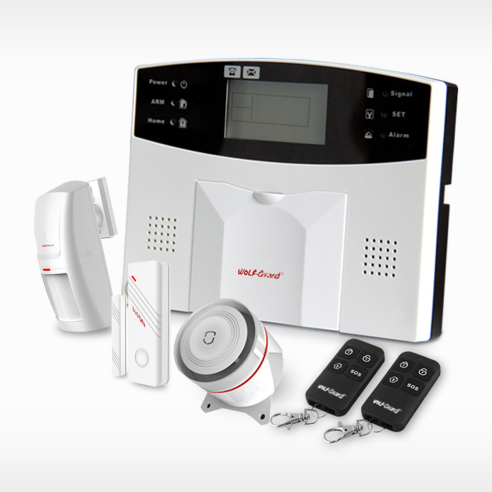 Wolf-Guard Wireless GSM SMS Home Alarm Security Burglar System PIR Motion Detector Door Window Sensor Alarm Keyfobs YL-007M2B