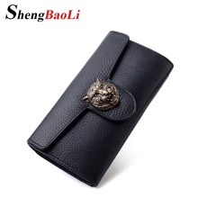 Shengbaoli Real Genuine Leather Women Wallets Brand Design High Quality 2017 Cell phone Card Holder Long Lady Wallet Purse Clutc