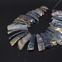 15 5 Strand Natural Agates Green Titanium Top Drilled Freeform Slab Nugget Pendant Beads Raw Gems
