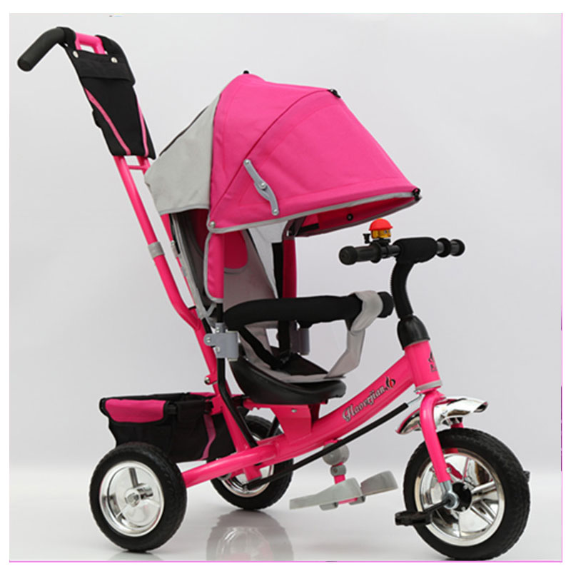 Children's Three Wheels Tricycle Bicycle Stroller Baby Carriage with 3 Wheels Shopping Cart Trike Kids Stroller Pushchair Buggy children tricycle bicycle baby stroller three wheels bike with shopping cart 2 5 years kids balance foot pedal driving tricycle