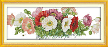 Poppies (7) cross stitch kit poppy flowers plant DMC color thread 14ct 11ct count print canvas stitches embroidery handmade(China)