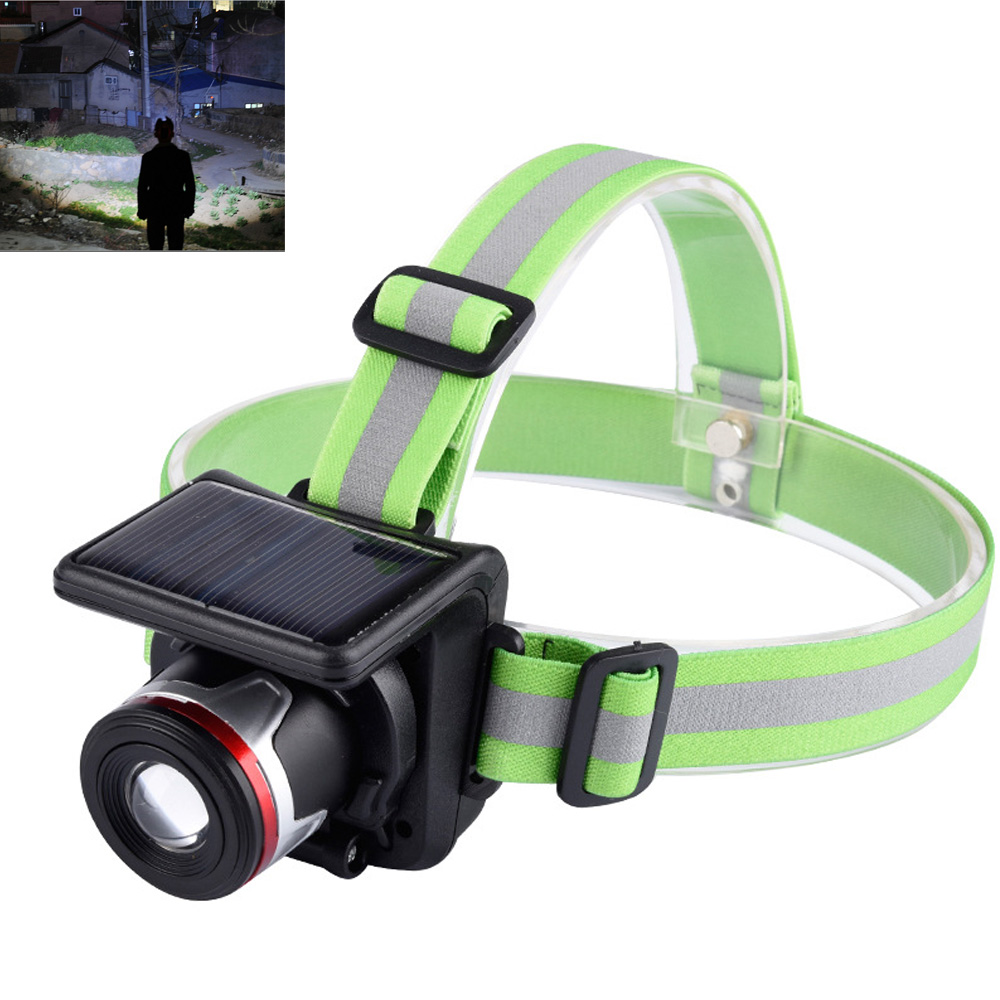 Waterproof Solar Powered Headlight 5W 350lm LED XPE Headlamp Outdoor Sport Zoomable Flashlight With Head Belt