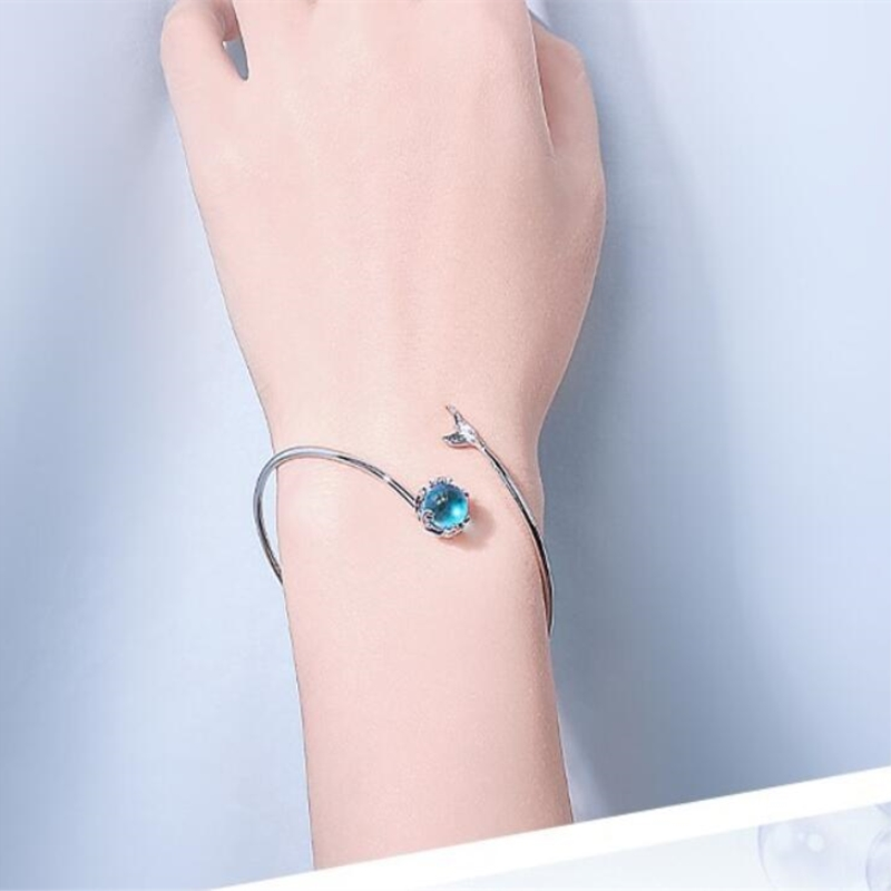 Mermaid Bubble Student Fresh Mermaid Tear Fishtail 925 Sterling Silver Temperament Female Trendy Resizable Bracelets SBR072