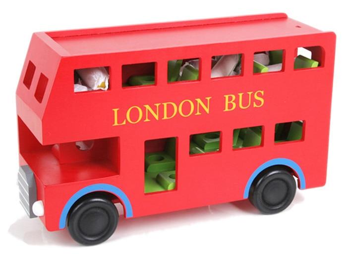 नई लकड़ी के खिलौने ब्लॉक बस लंदन बस बेबी खिलौना बच्चे शैक्षिक खिलौना
