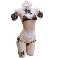 Signore Biancheria Sexy hot Sheer Impertinente Francese Cameriera Uniforme Tentazione sexy Vestito della biancheria intima Lingerie erotica