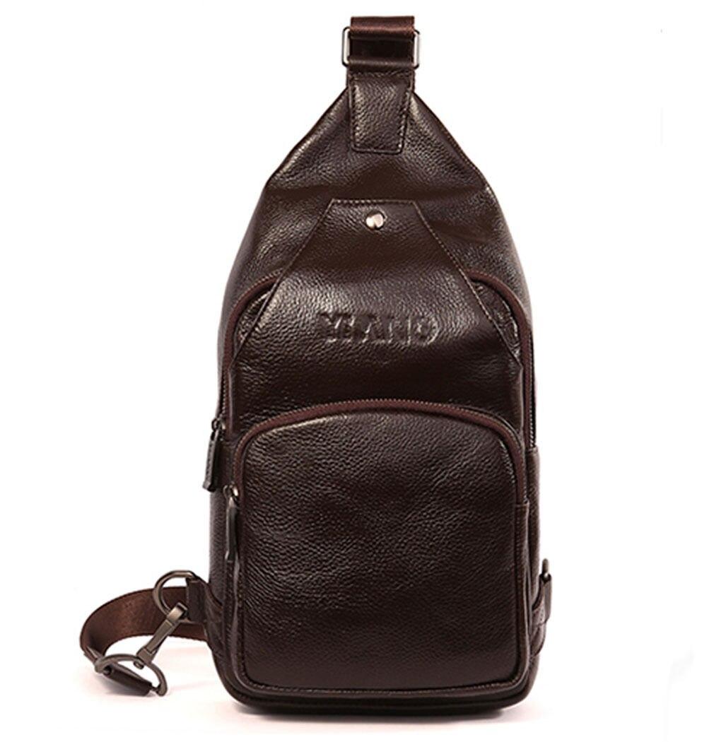 Men Fashion Genuine Leather High Quality Casual Messenger Satchel Sling Chest Bag Messenger Shoulder Bag high quality casual men bag