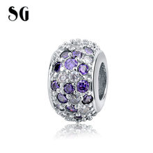 New Arrival Fit Authentic pandora charms silver 925 Purple and white intersect Charms Antique Bead Jewelry Gifts Free shipping