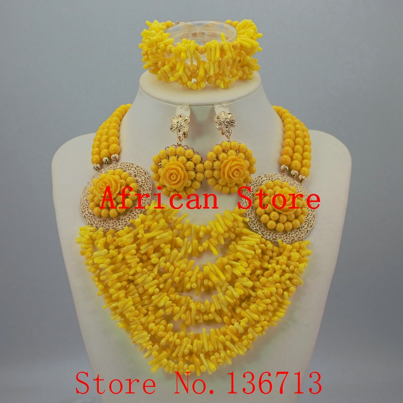 Wonderful gold color African Coral Beads Jewelry Set Nigerian ...