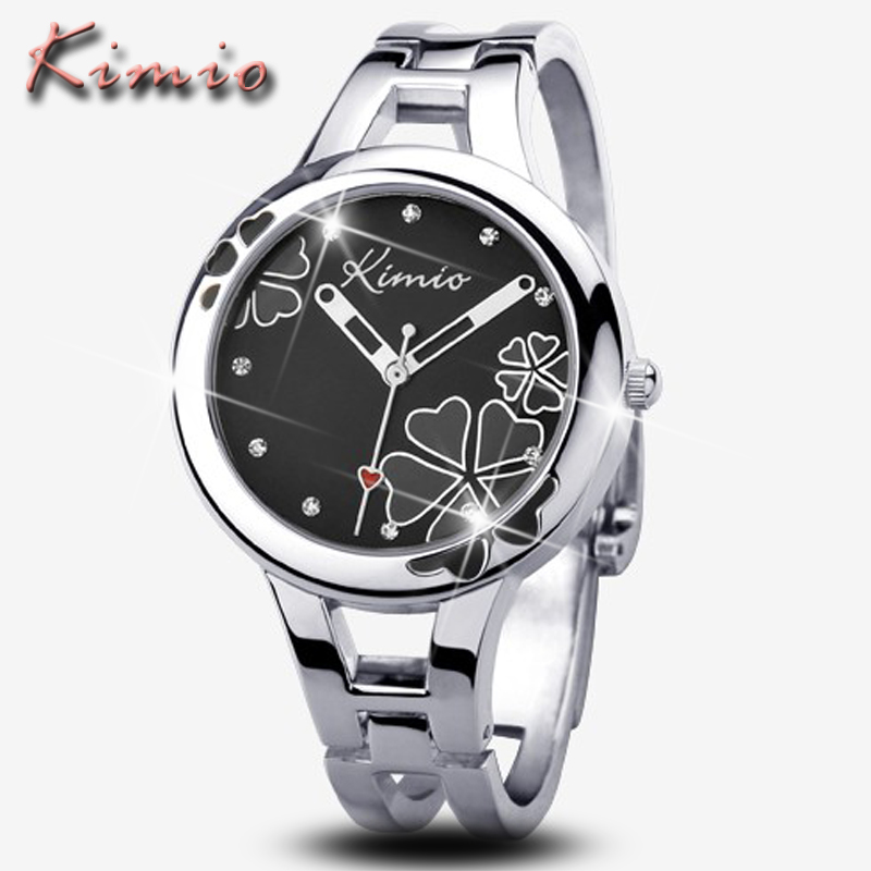 KIMIO Top Brand Luxury Dress Women Watches Montre Femme Silver Bracelet Clock Fashion Casual Steel Quartz Watch Relogio Feminino luxury fashion golden quartz watches square casual lady women party dinner bracelet bangle dress watch montre femme