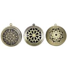 Antique Vintage Bronze Hollow Aromatherapy Locket Pendant for DIY Cabochon Photo Essential Oil Diffuser Necklace все цены