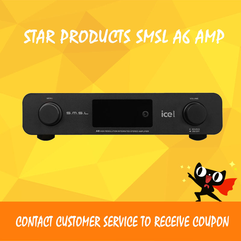 SMSL A6 HiFi AK4452+CM6632A+NJW1194A 50Wx2 DSD512 384KHZ/32Bit OPTIC/Coaxial/XMOS/USB DAC Audio Digital Amplifier +Headphone AMP new smsl sanskrit pro b hifi digital audio bluetooth 4 0 decoder 32bit 384khz dsd usb coaxial optial dac cm6632a ak4490eq
