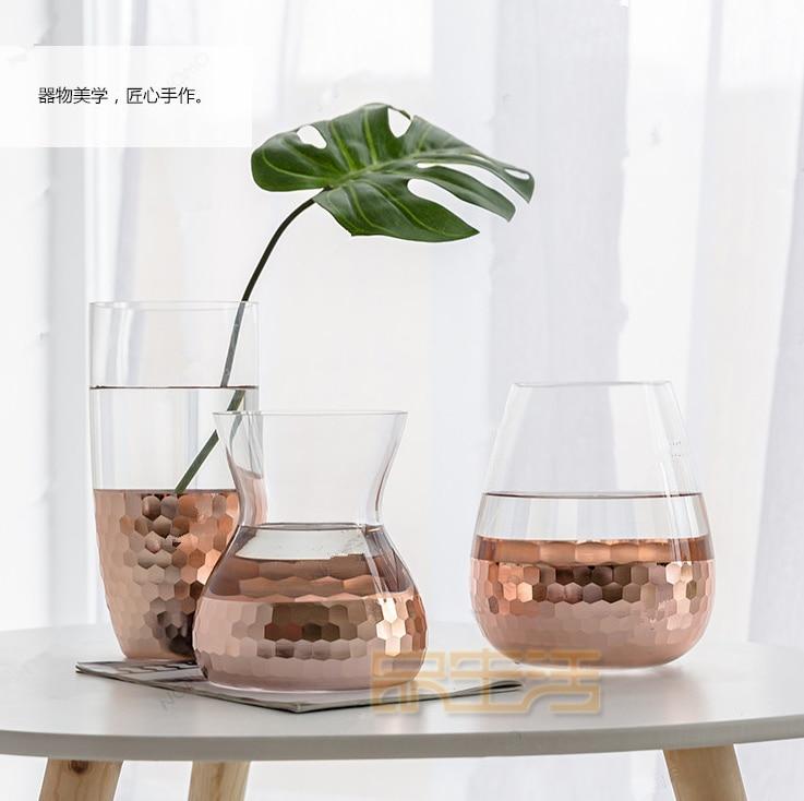 Décorations de noël pour la maison allemand haut de gamme 22 K rose feuille d'or sculpté cristal verre vase fleur arrangement bougie