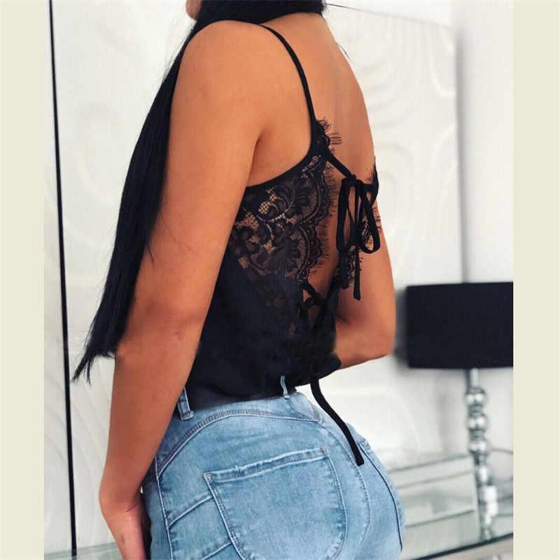 נשים טי תחרה T חולצות אפוד קיץ 2019 מכירה לוהטת סקסי אפוד אופנה חולצה שחור חולצות ללא שרוולים ללא משענת חולצה גופיות