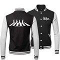 New 2015 Fashion Warm Winter Cool Mens Coats Hip Hop The Beatles Rock Band Sweatshirts Baseball Bomber Jacket Men 3XL