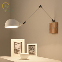 Nordic Adjustable wooden Wall Lamps Modern Foldable Wall Sconce White Bedside Lights For Bedroom Matel Reading Home Lighting