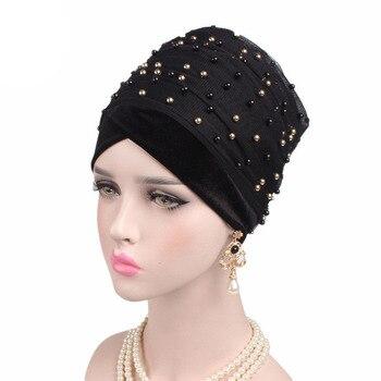 Nieuwe Tie Hoofddoek Dames Turbante Vrouwen Luxe Solid Gold Kralen Mesh Lange Hoofd Wrap Tulband Hijab Lange Buis Hoofd Sjaal