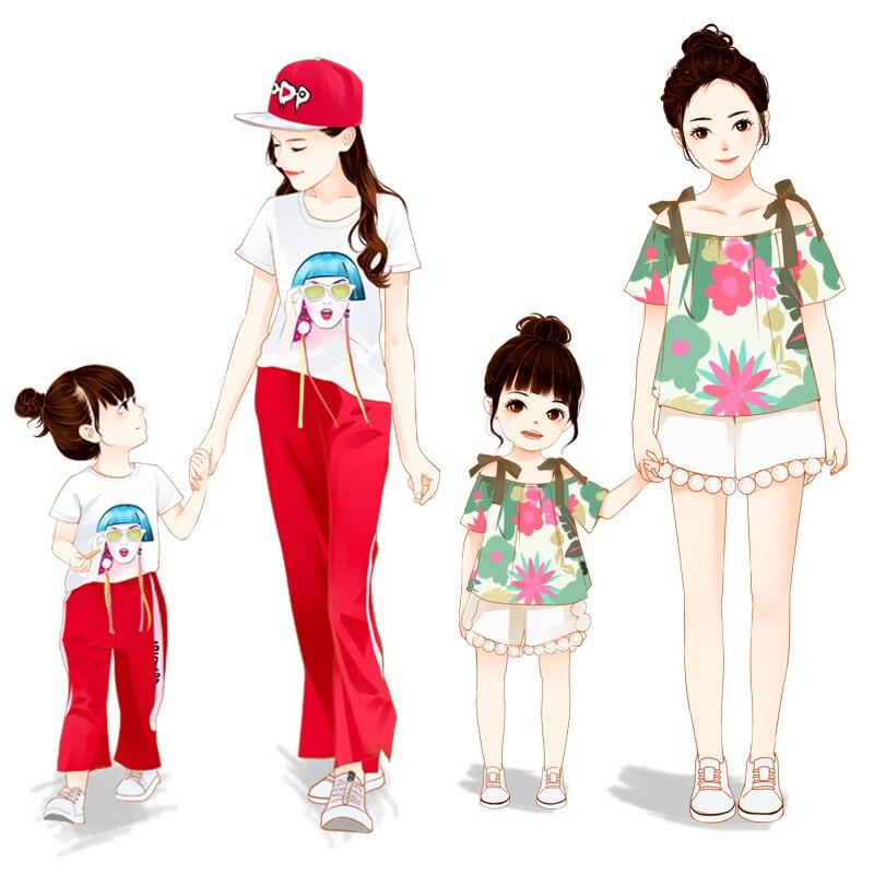 Super style étranger mère-fille tenue filles été 2019 nouvelle mode version coréenne de net rouge bébé fille costume été - 3
