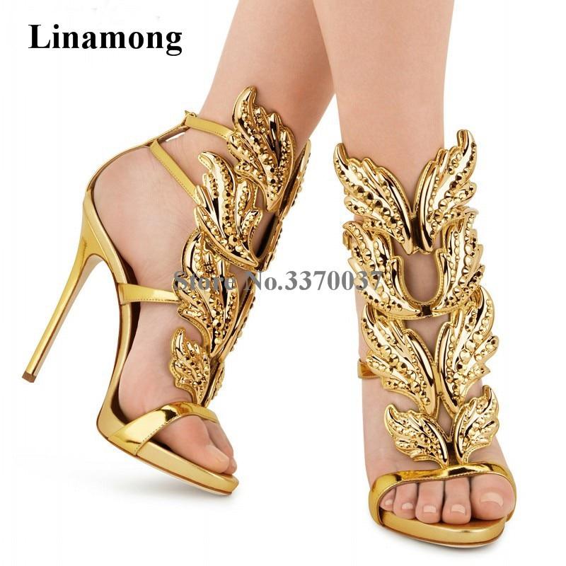 Summer New Fashion Women Open Toe Wings Design Rhinestone Gladiator Sandals Crystal Gold Sliver Black High Heel Sandals rhinestone design toe post sandals