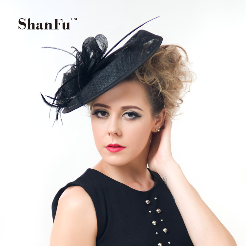 ShanFu Women Large Feather Sinamay fascinators Hats Lady Fancy Headband Hairclip for Wedding Party Races SFCS12391 4pcs/lot women s hats and fascinators vintage sinamay sagittate feather fascinator with headband tocados sombreros bodas free shipping