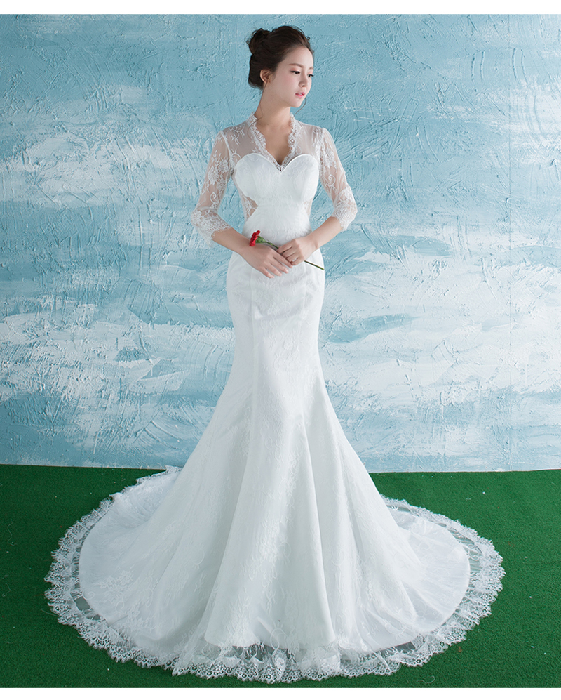 White Ivory Mermaid Lace Wedding Dresses Zipper Sereia Bridal Gown ...