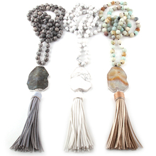 Fashion Bohemian Jewelry Gray White Amazonite Stone Knotted Irregular Stone  Link leather Tassel Necklaces 4b403929e1d1