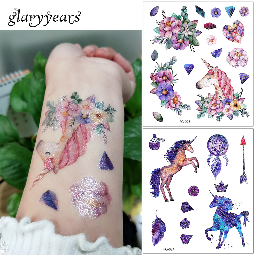 Glaryyears 24 Designs 1 Sheet Glitter Body Tattoo FG Waterproof Sticker Cartoon Horse Cat Decal Temporary Children Tattoo Gift