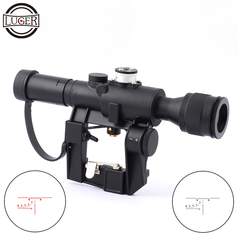 LUGER SVD 4x26 Tactical Optical Riflescope Illuminated Sight Scopes Hunting Fits 11/20mm Rail Mount For Airsoft Air Rifle luger vt 3 12x42 aoe hunting scope riflescope fits 11mm 20mm rail mount tactical optics sight scopes for airsoft sniper