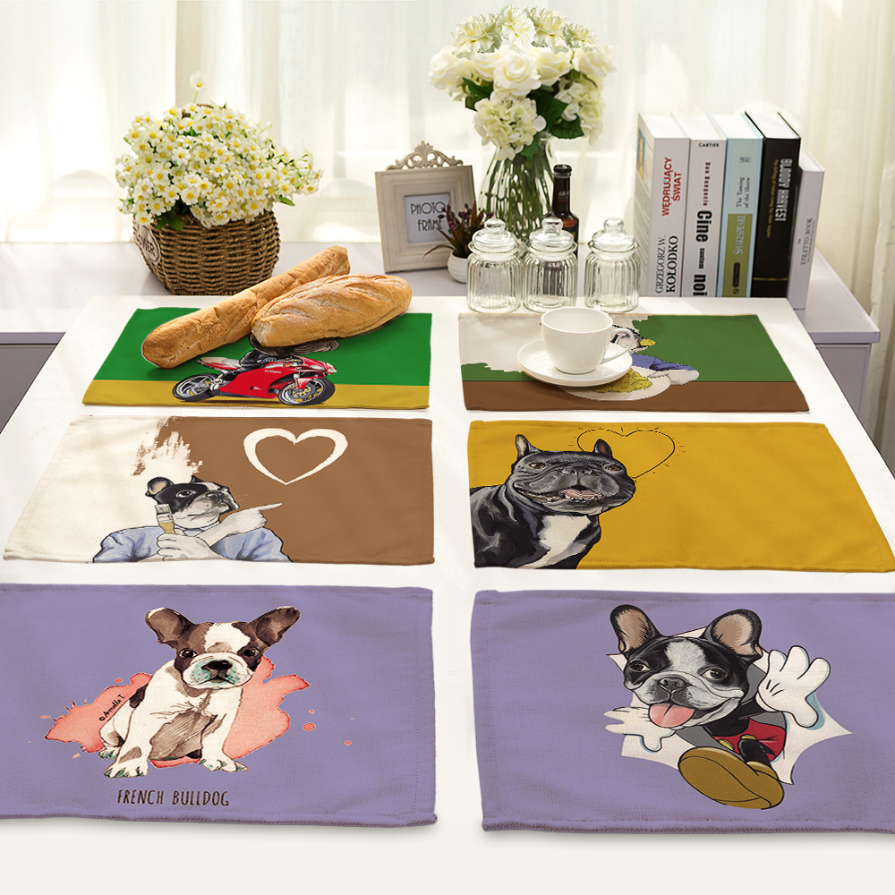 42x32cm Cute Dog Pattern Table Mat Cartoon Animal Dog Table Napkin Placemat Kitchen Decoration Dining Accessories MA0022