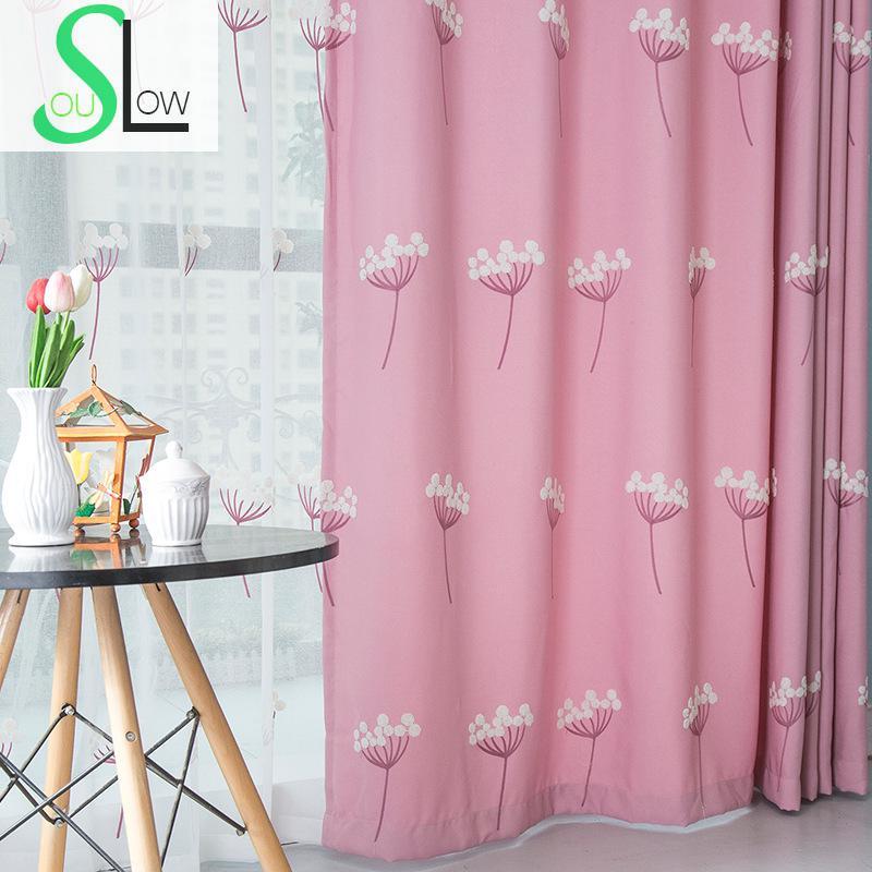 Slow Soul Dandelion Blue Pink Embroidered Floral Curtains