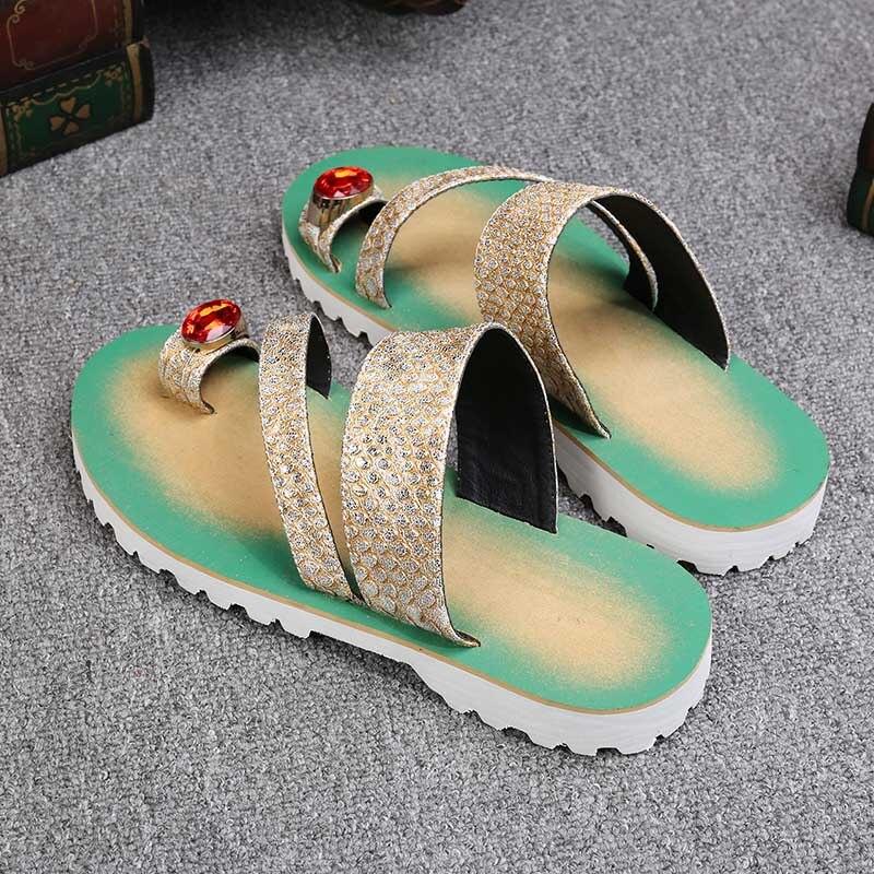 Batzuzhi Luxe Gloednieuwe Schoenen Fashion Leather Slippers Flip Flops Open Teen met Grote Crystal Flats Strand Sandaal Schoenen mannen - 6