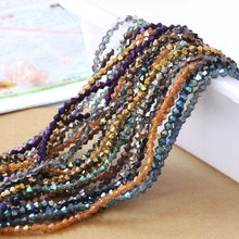 Bicone Crystal Plating Beads 2/3/4mm Glass Faceted Loose Beads Diy Craft Material Jewelry Making Bracelet Wholesale